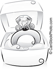 Black and White Illustration of a Sparkling Diamond Ring Resting on a Box