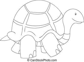 Black and white illustration of cartoon turtle