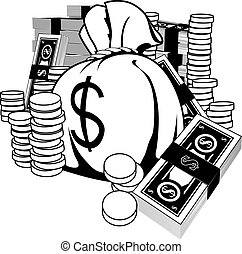Monochrome illustration of money in the form of cash and gold coins, with big money sack.