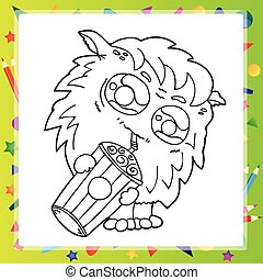Black and White Illustration of Funny Monster
