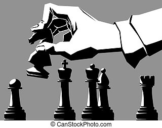 Black and white illustration of hand with chessmen. - Simple...