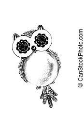 Black and white illustration of Owl on the white background