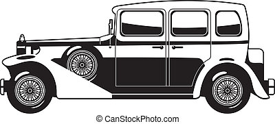 Vintage car - black and white illustration of Vintage car