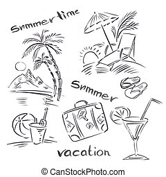 Black and white illustration of traveling themes, Summer...