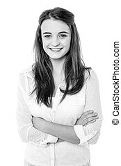 Black and white image of a confident smiling girl