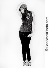 Black and white image of a standing model