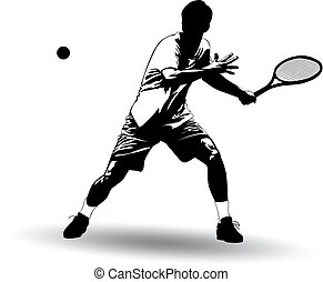 Black and white image of a tennis player battering the ball with a racket