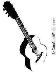 Black and white image of acoustic guitar