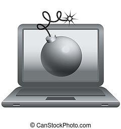 bomb on laptop monitor
