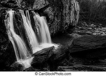 Black and white image of Kilgore Falls at Rocks State Park, Maryland