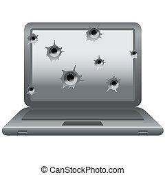 laptop with gun shots on monitor