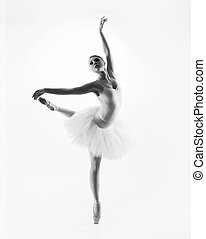 Black and white image of young beautiful ballet dancer...