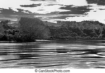 Black and white imager of river and its banks - Dramatic pic...