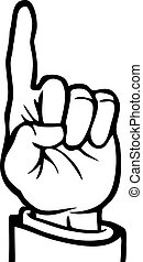 Black and white hand with its index finger pointing upwards.