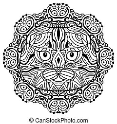 The head of a cat breed Scottish fold with a circular pattern. Coloring book for adults