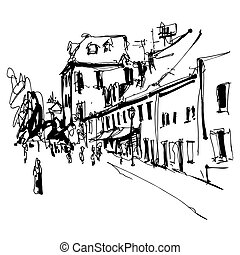 black and white ink hand drawing of Cetinje street - ancient...
