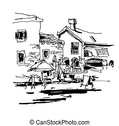 black and white ink sketch drawing of ancient fort in Petrovac M