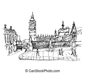 black and white ink sketch drawing of famous place in London,  B