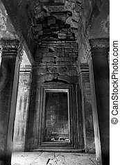 "Black and White inner of ""Gopura"" Tower, Preah Khan, Angkor"