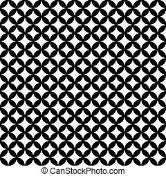 Black and White Interconnected Circles Tiles Pattern Repeat...