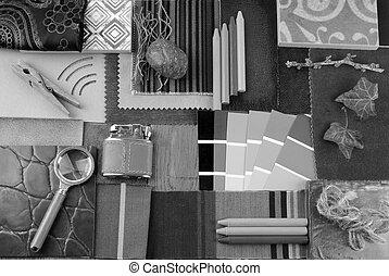 black and white interior details