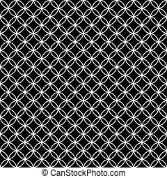 Black and White Interlocking Circles Tiles Pattern Repeat...