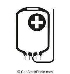 Black and white IV medicine bag silhouette. Healthcare...