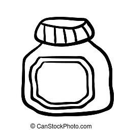 black and white jam jar