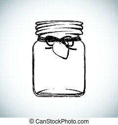 black and white jam jar illustration