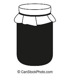 Black and white jam jar silhouette