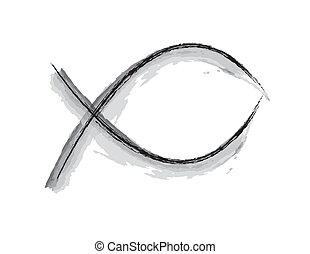 Black and White Jesus Fish Design - simple black and white...