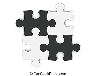 Black and White Jigsaw Pieces - digital render of jigsaw...