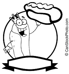 Black And White King Hot Dog Holding Up A Garnished Hot Dog Over A Circle And Blank Text Box