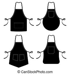 Black and white kitchen chef aprons isolated on white
