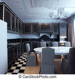 Black And White Kitchen Interior