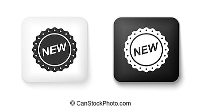 Black and white Label New icon isolated on white background. Square button. Vector