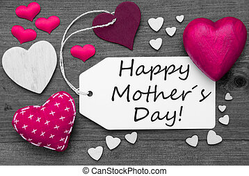 Black And White Label, Pink Hearts, Text Happy Mothers Day -...