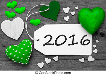 Black And White Label With Green Hearts, Text 2016 - Label...