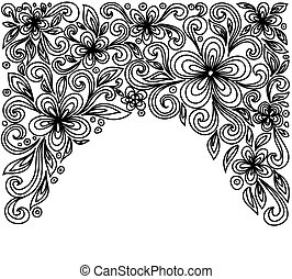 Black and white lace flowers and leaves isolated on white. Floral design element in retro style.
