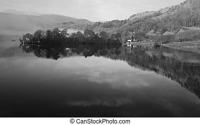 Black and White Countryside Lake reflection, Lake district national park cumbria, england, uk
