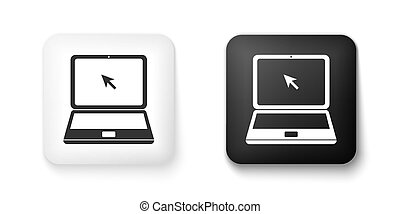 Black and white Laptop with cursor icon isolated on white background. Square button. Vector
