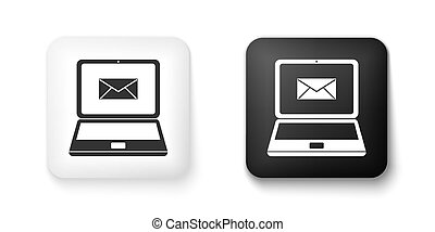 Black and white Laptop with envelope and open email on screen icon isolated on white background. Email marketing, internet advertising concepts. Square button. Vector