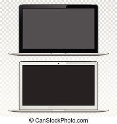 Black and white laptops isolated on transparent background