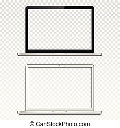 Black and white laptops with transparent screen isolated on transparent background