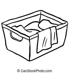black and white laundry basket