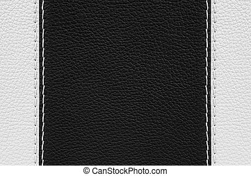Black and white leather texture with stitches