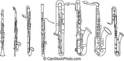 Simple black line drawing of outline Clarinet, Bassoon, Contrabassoon, Saxophone musical instrument contour