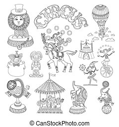 black and white line art drawings collection of circus theme