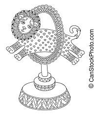 line art illustration of circus theme - a lion jumps through...