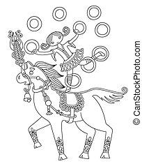 black and white line art illustration of circus theme - girl jug